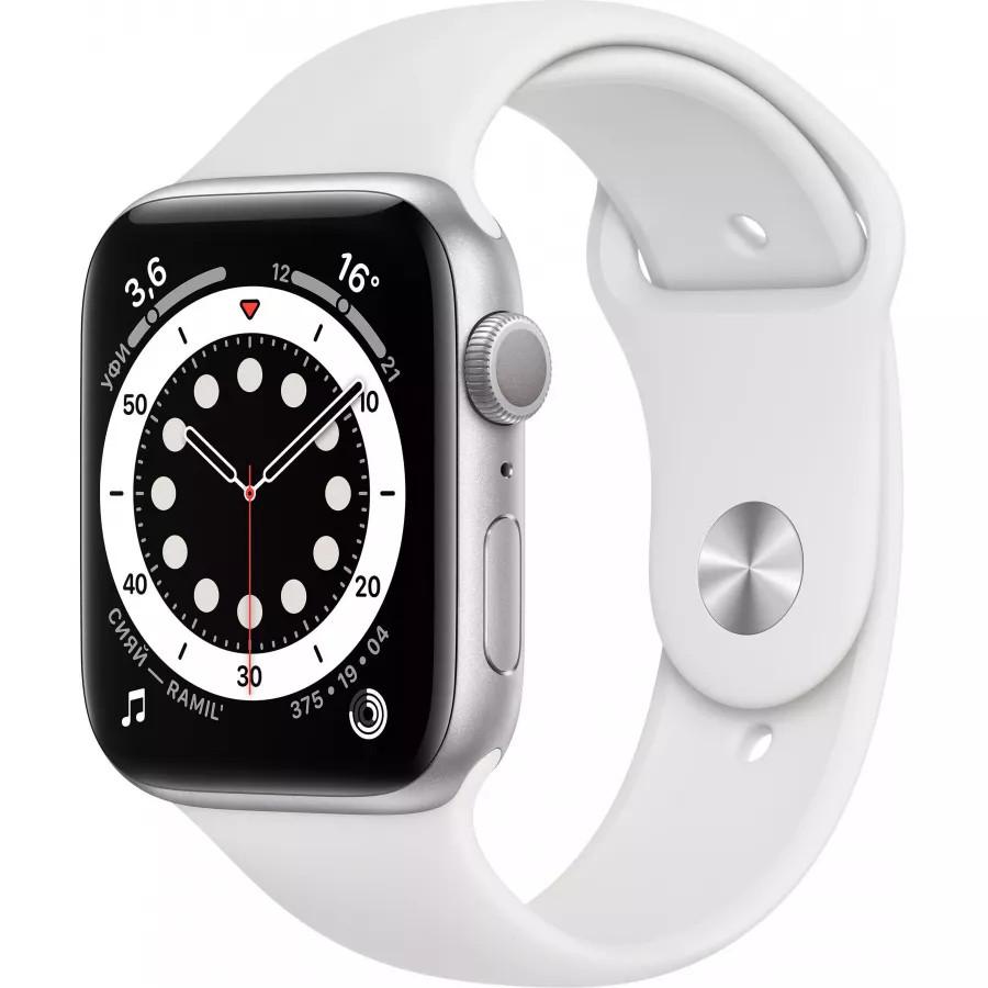 Apple Watch Series 6 44mm, серебристый алюминий, спортивный ремешок белого цвета. Вид 1