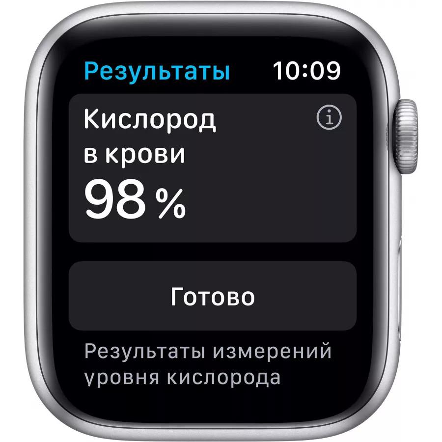 Apple Watch Series 6 44mm, серебристый алюминий, спортивный ремешок белого цвета. Вид 3