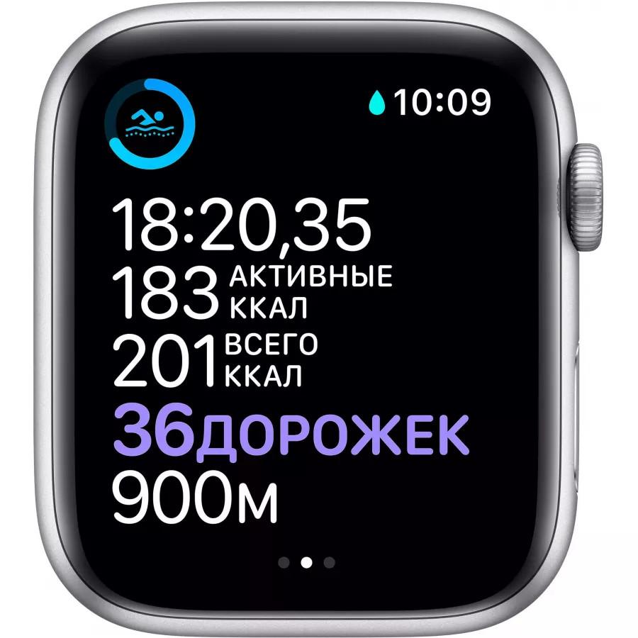 Apple Watch Series 6 44mm, серебристый алюминий, спортивный ремешок белого цвета. Вид 4