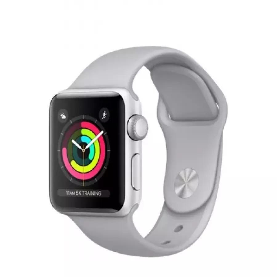 Apple Watch Sport Series 3 38mm, серебристый алюминий, спортивный ремешок дымчатого цвета. Вид 1