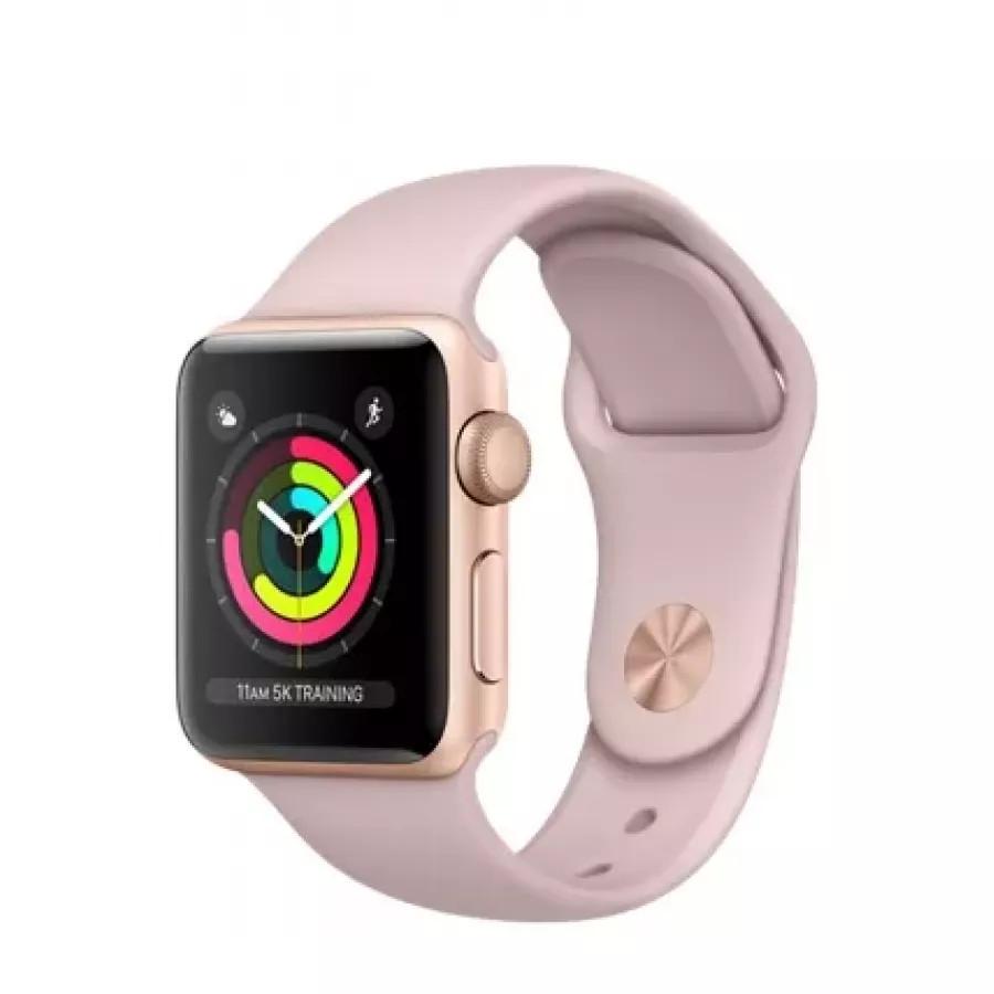 Apple Watch Sport Series 3 38mm, золотистый алюминий, спортивный ремешок цвета «розовый песок». Вид 1