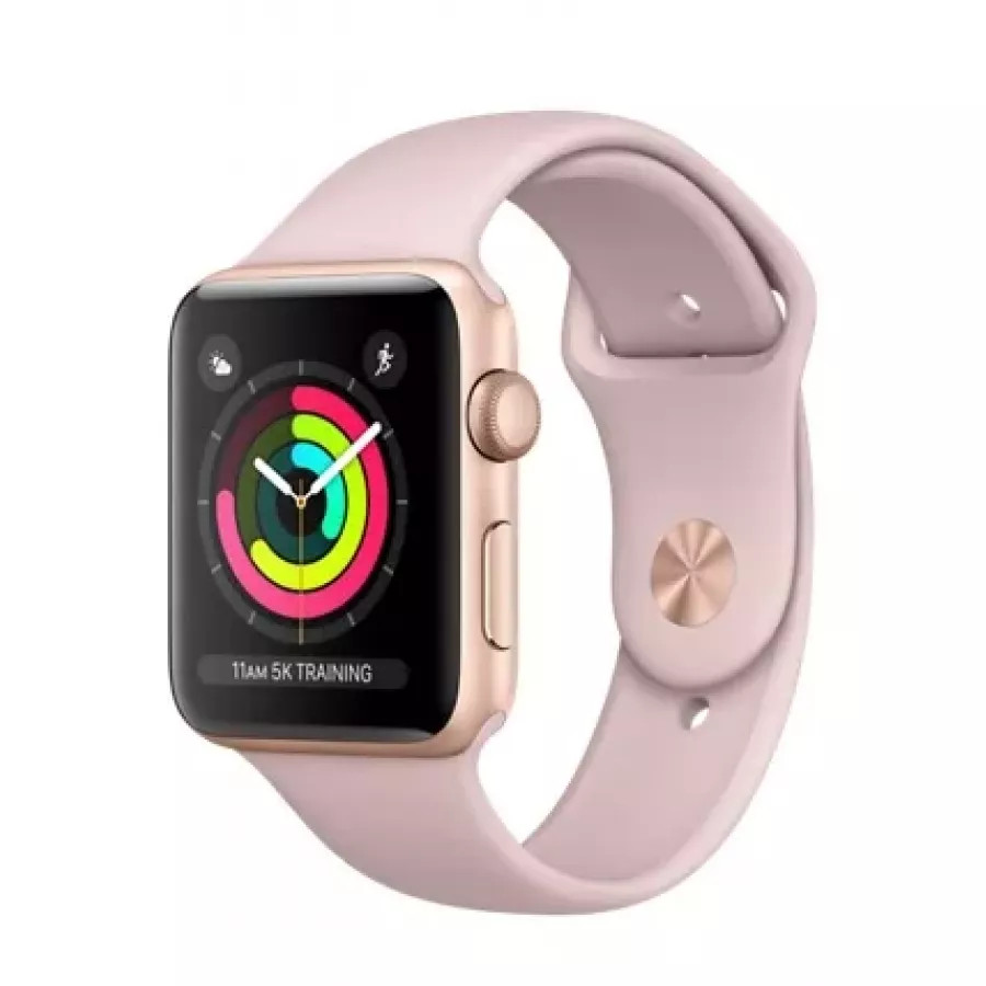 Apple Watch Sport Series 3 42mm, золотистый алюминий, спортивный ремешок цвета «розовый песок». Вид 1
