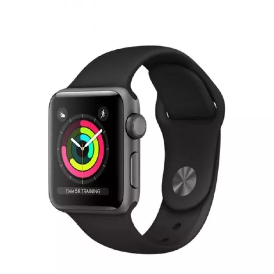 Apple Watch Sport Series 3 38mm, алюминий «серый космос», спортивный ремешок чёрного цвета. Вид 1