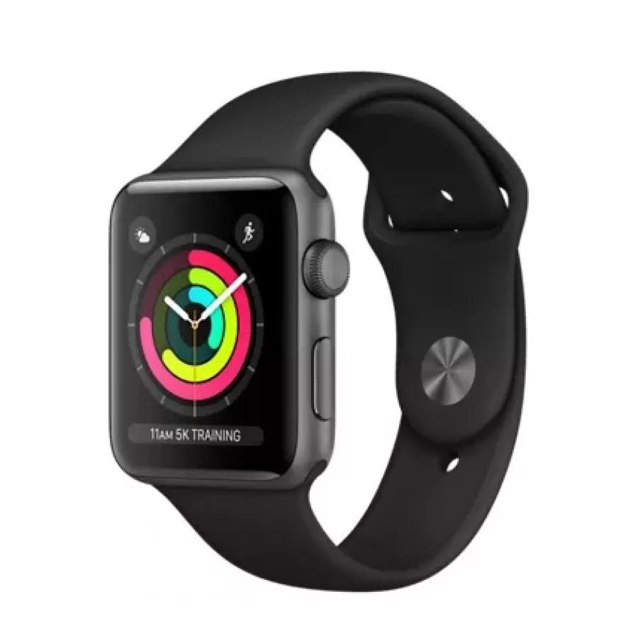 Apple Watch Sport Series 3 42mm, алюминий «серый космос», спортивный ремешок чёрного цвета. Вид 1