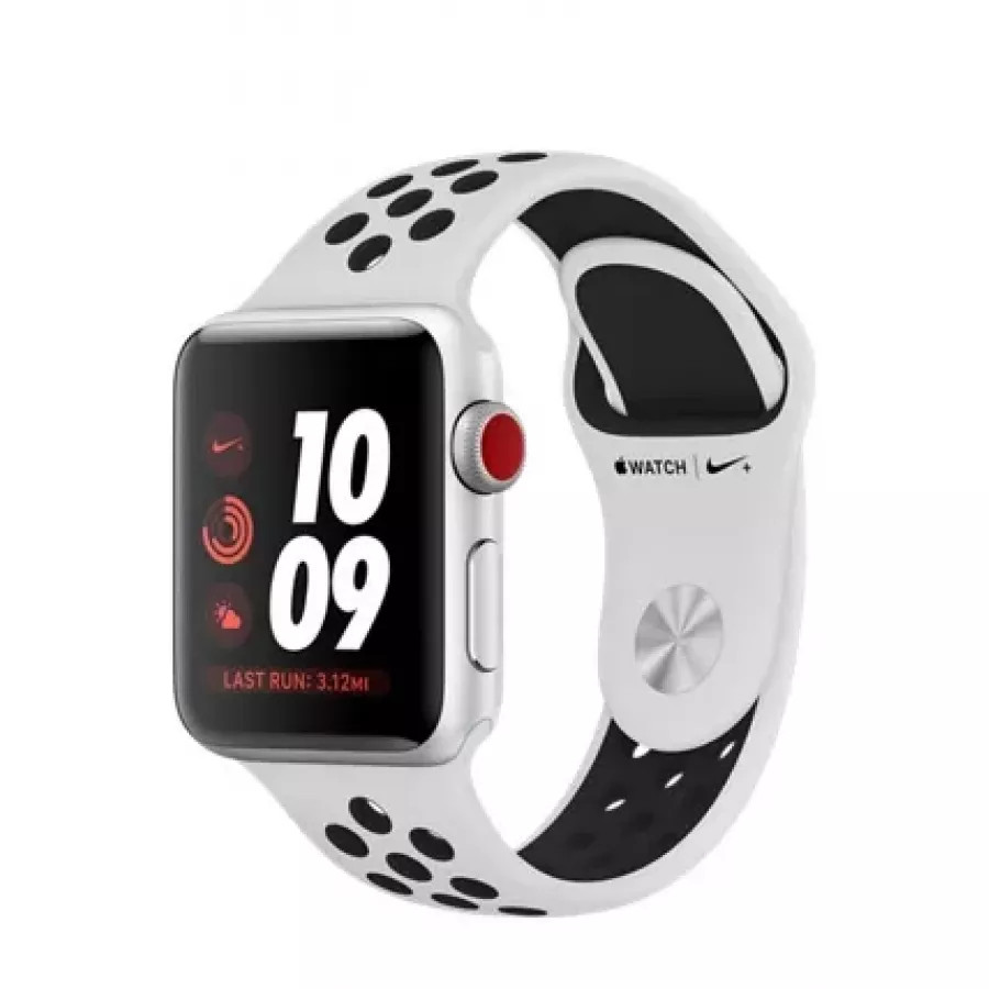 Apple Watch Nike+ CELLULAR 38mm, серебристый алюминий, спортивный ремешок Nike цвета «чистая платина/чёрный». Вид 1