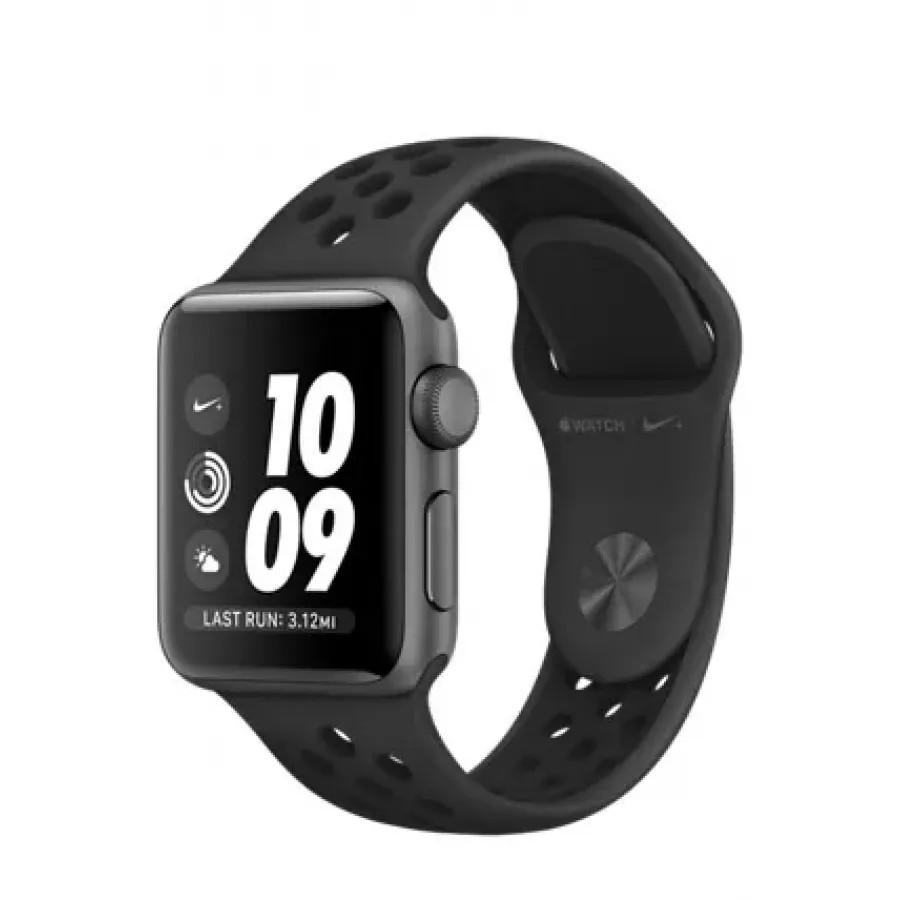 Apple Watch Nike+ 38mm, алюминий «серый космос», спортивный ремешок Nike цвета «антрацитовый/чёрный». Вид 1