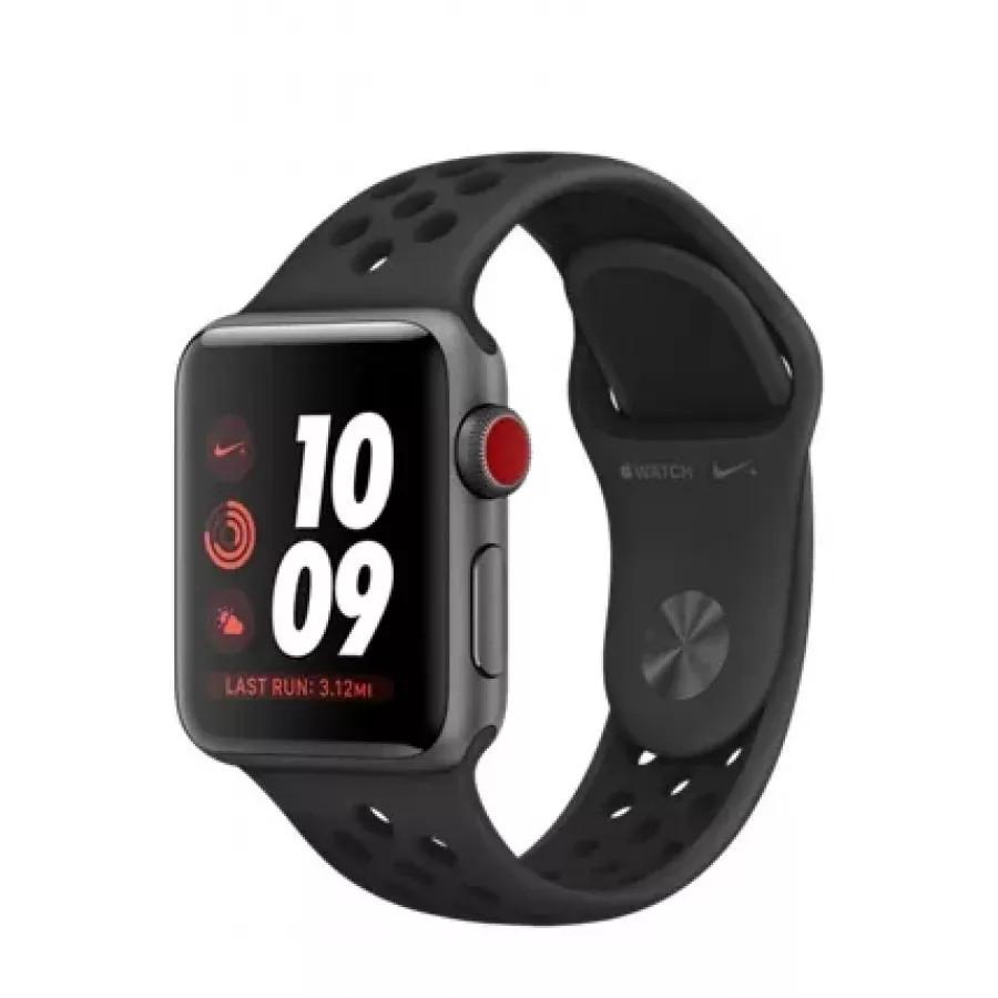 Apple Watch Nike+ CELLULAR 38mm, алюминий «серый космос», спортивный ремешок Nike цвета «антрацитовый/чёрный». Вид 1