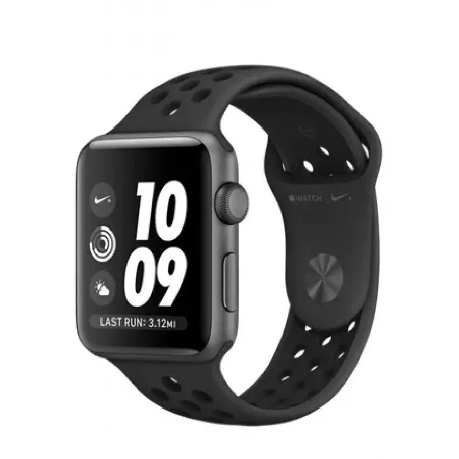 Apple Watch Nike+ 42mm, алюминий «серый космос», спортивный ремешок Nike цвета «антрацитовый/чёрный». Вид 1