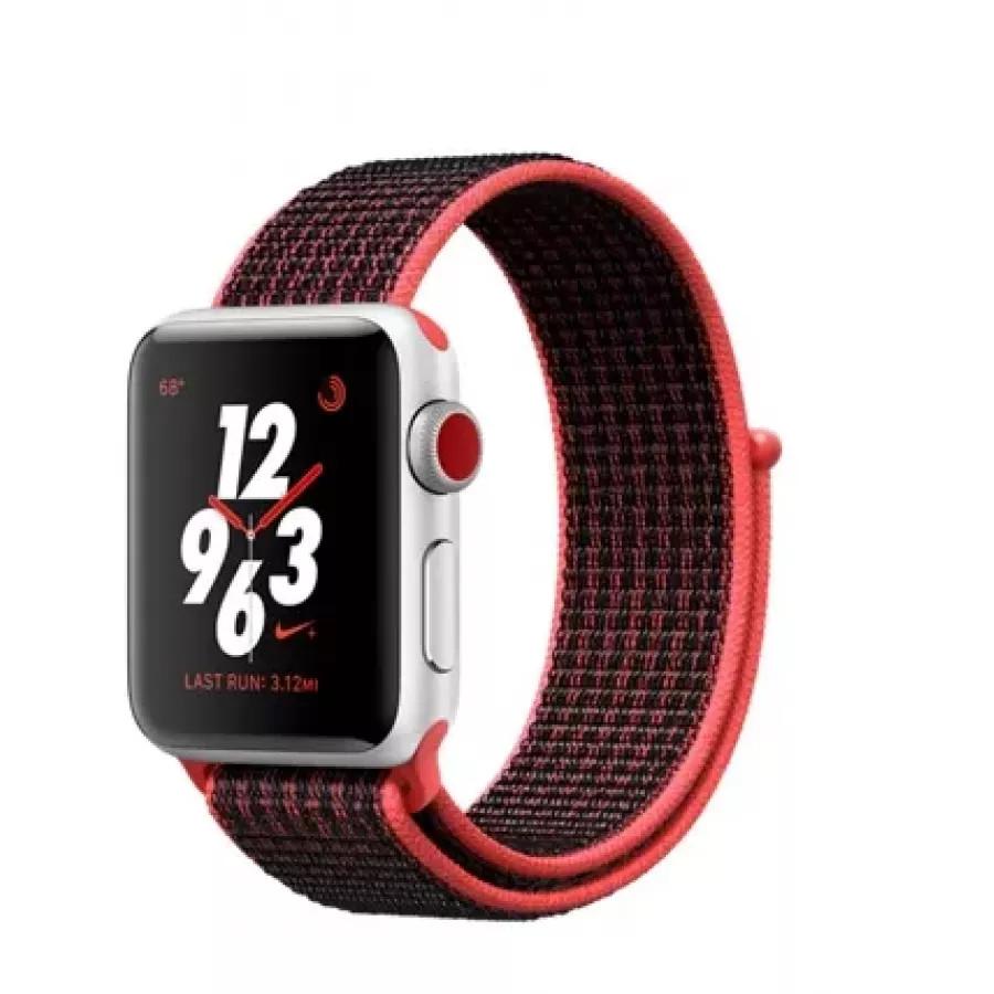 Apple Watch Nike+ CELLULAR 38mm, серебристый алюминий, ремешок Nike из плетеного нейлона цвета «малиновый/чёрный». Вид 1