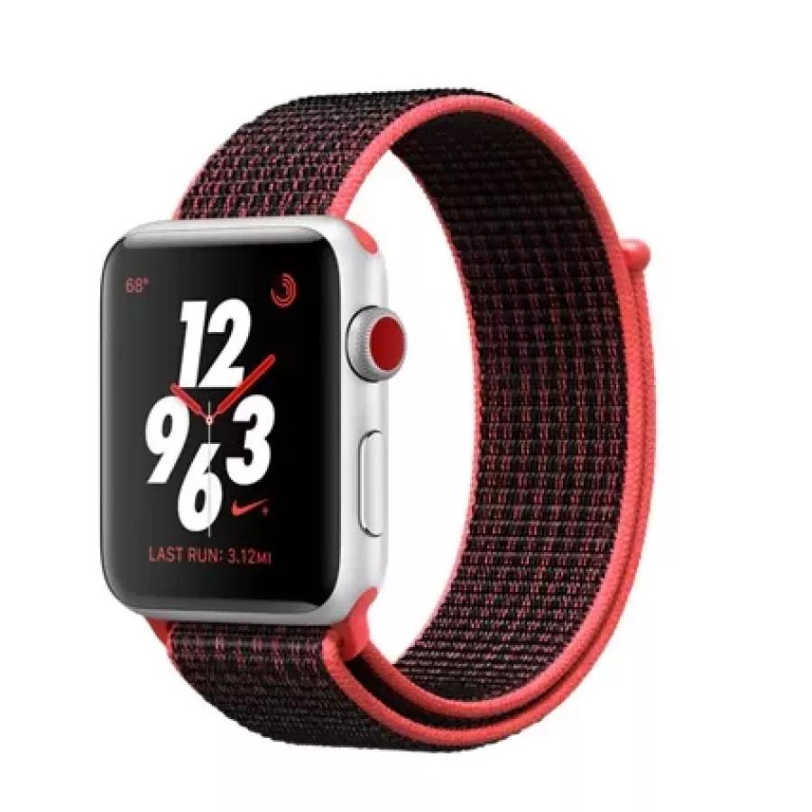 Apple Watch Nike+ CELLULAR 42mm, серебристый алюминий, ремешок Nike из плетеного нейлона цвета «малиновый/чёрный». Вид 1