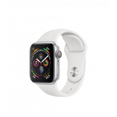 Apple Watch Series 4 40mm, серебристый алюминий, спортивный ремешок белого цвета