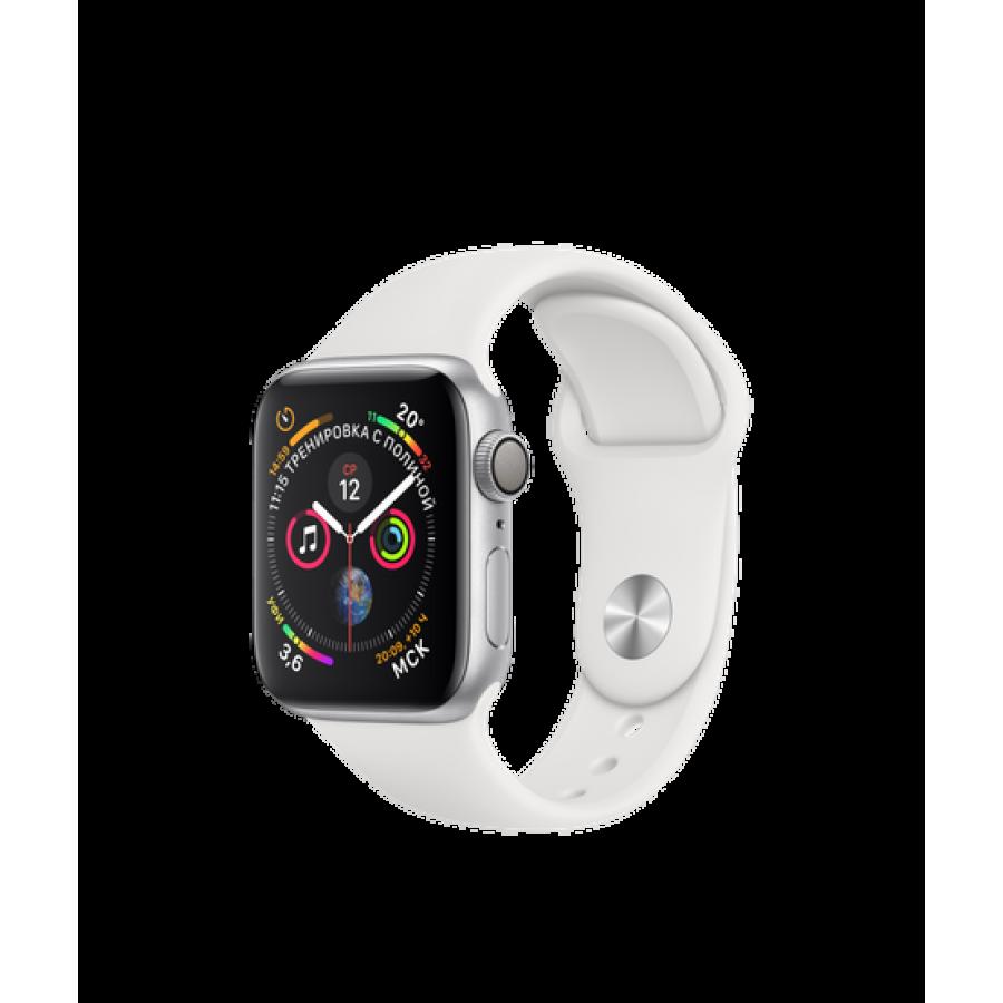 Apple Watch Series 4 40mm, серебристый алюминий, спортивный ремешок белого цвета. Вид 1