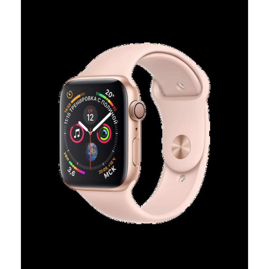 Apple Watch Series 4 44mm, золотистый алюминий, спортивный ремешок цвета «розовый песок». Вид 1