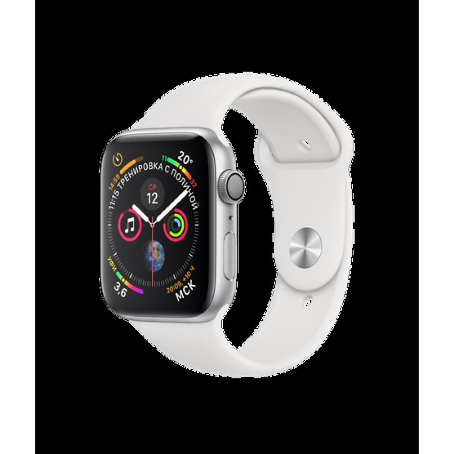 Apple Watch Series 4 44mm, серебристый алюминий, спортивный ремешок белого цвета. Вид 1