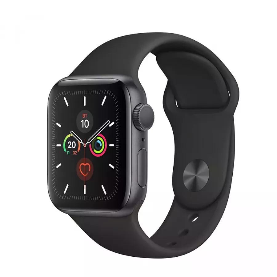 Apple Watch Series 5 40mm, алюминий цвета «серый космос», спортивный ремешок черного цвета. Вид 1