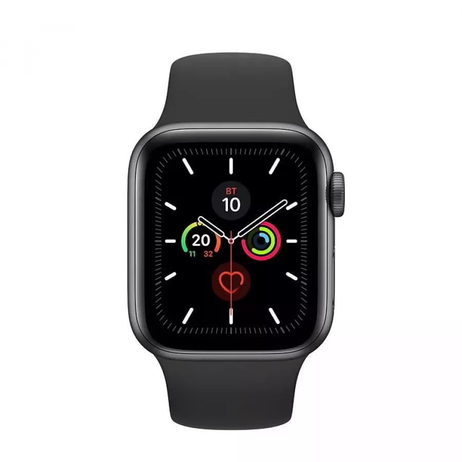 Apple Watch Series 5 40mm, алюминий цвета «серый космос», спортивный ремешок черного цвета. Вид 2