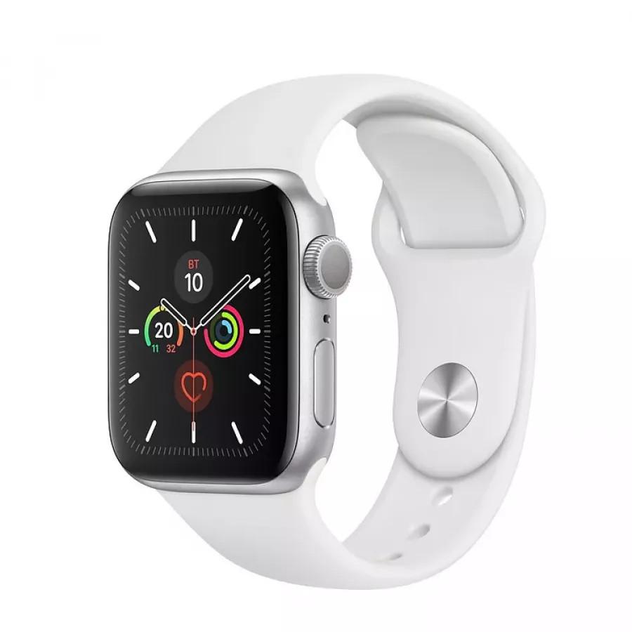 Apple Watch Series 5 40mm, серебристый алюминий, спортивный ремешок белого цвета. Вид 1