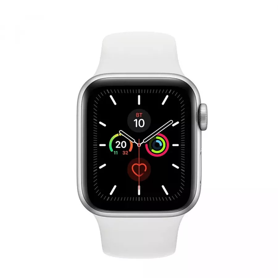 Apple Watch Series 5 40mm, серебристый алюминий, спортивный ремешок белого цвета. Вид 2