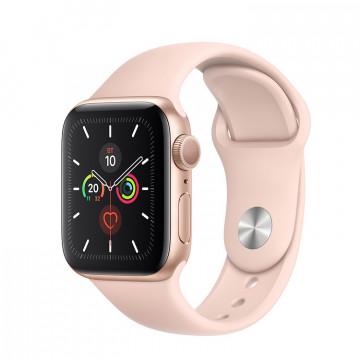 Apple Watch Series 5 40mm, золотистый алюминий, спортивный ремешок цвета «розовый песок». Вид 1