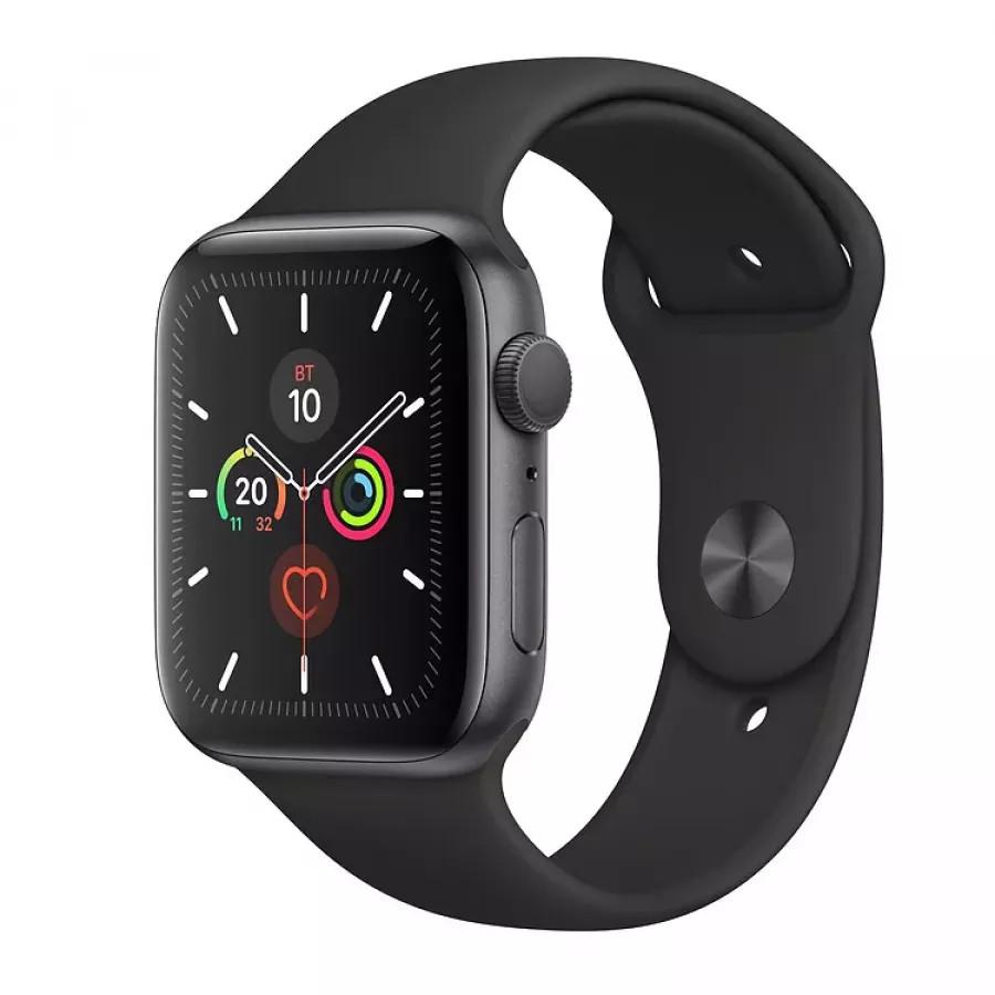 Apple Watch Series 5 44mm, алюминий цвета «серый космос», спортивный ремешок черного цвета. Вид 1
