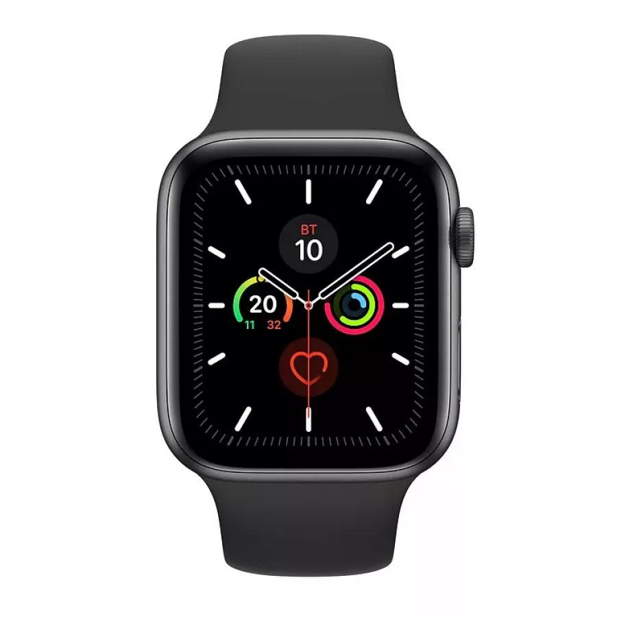 Apple Watch Series 5 44mm, алюминий цвета «серый космос», спортивный ремешок черного цвета. Вид 2