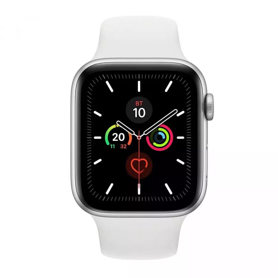 Apple Watch Series 5 44mm, серебристый алюминий, спортивный ремешок белого цвета. Вид 2