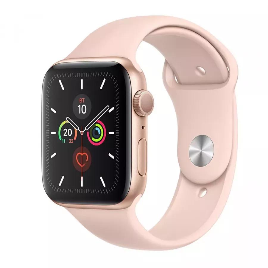 Apple Watch Series 5 44mm, золотистый алюминий, спортивный ремешок цвета «розовый песок». Вид 1
