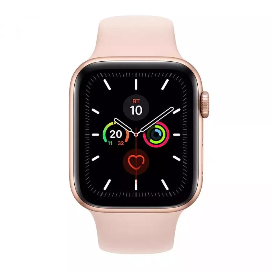 Apple Watch Series 5 44mm, золотистый алюминий, спортивный ремешок цвета «розовый песок». Вид 2