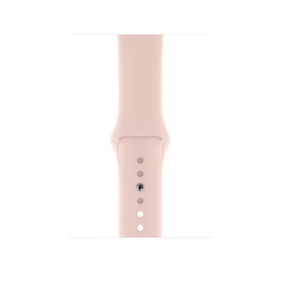Apple Watch Series 5 44mm, золотистый алюминий, спортивный ремешок цвета «розовый песок». Вид 3
