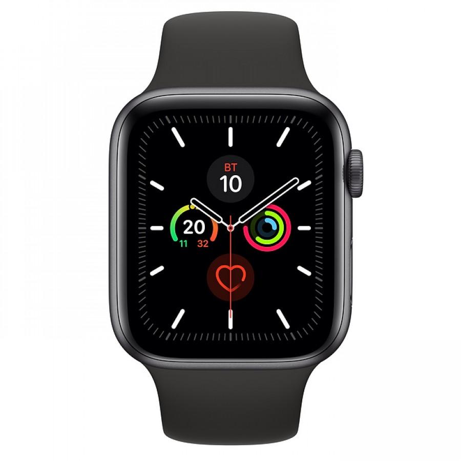 Apple Watch Series 5 44mm, алюминий цвета «серый космос», спортивный ремешок черного цвета