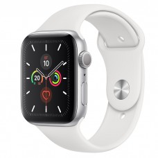 Apple Watch Series 5 44mm, серебристый алюминий, спортивный ремешок белого цвета