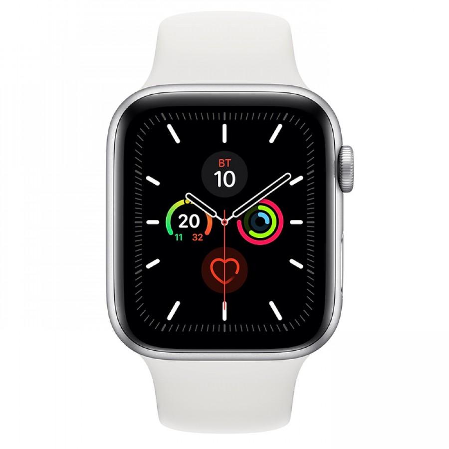 Apple Watch Series 5 44mm, серебристый алюминий, спортивный ремешок белого цвета