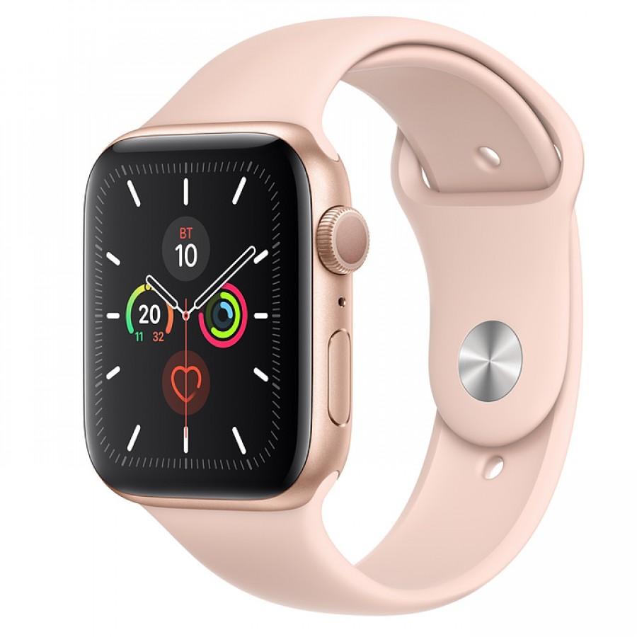 Apple Watch Series 5 44mm, золотистый алюминий, спортивный ремешок цвета «розовый песок»