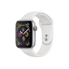 Apple Watch Series 4 44mm, серебристый алюминий, спортивный ремешок белого цвета