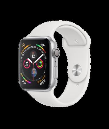 Apple Watch Series 4 44mm, серебристый алюминий, спортивный ремешок белого цвета