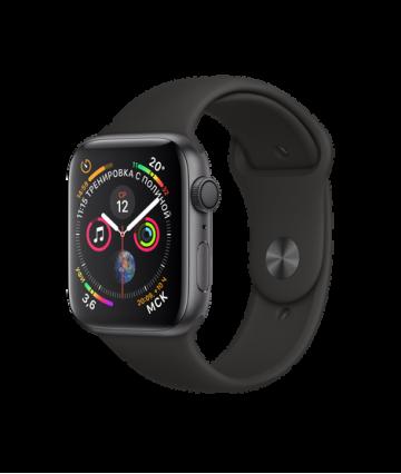 Apple Watch Series 4 44mm, алюминий цвета «серый космос», спортивный ремешок черного цвета. Вид 1