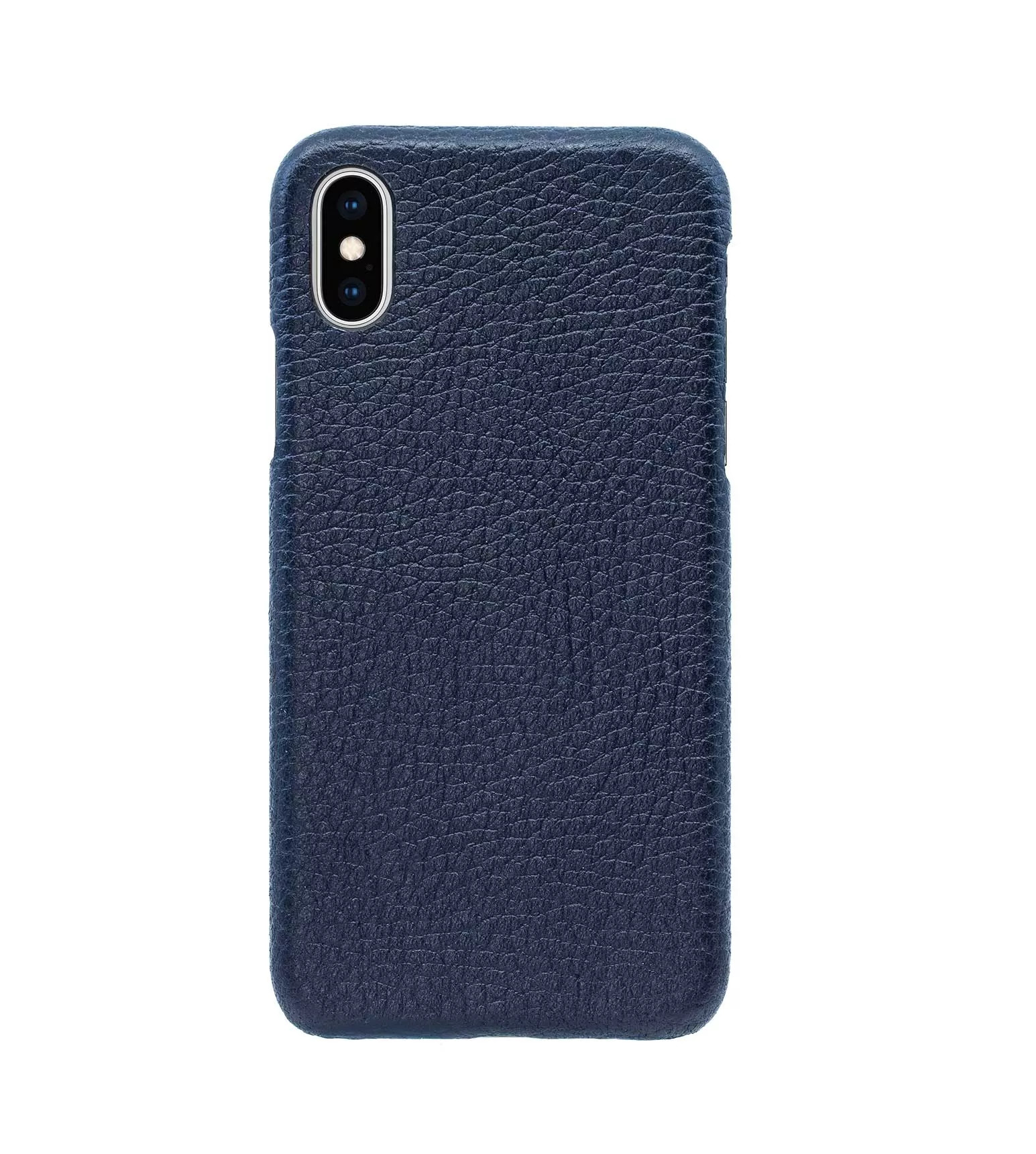 Купить Чехол Natural Cow Hermes Leather Case для iPhone X/XS - Темно-синий (Dark Blue) в Сочи