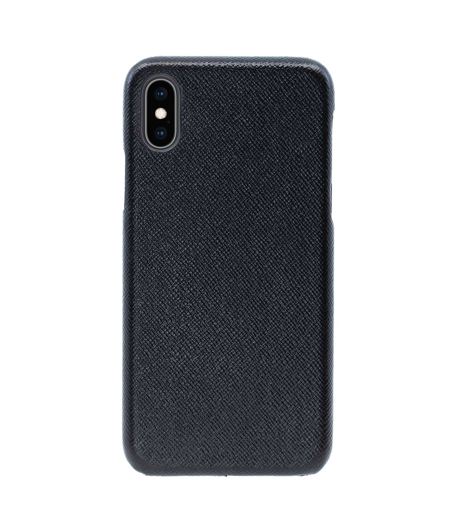 Купить Чехол Natural Cow Tiffany Leather Case для iPhone X/XS - Черный (Black) в Сочи