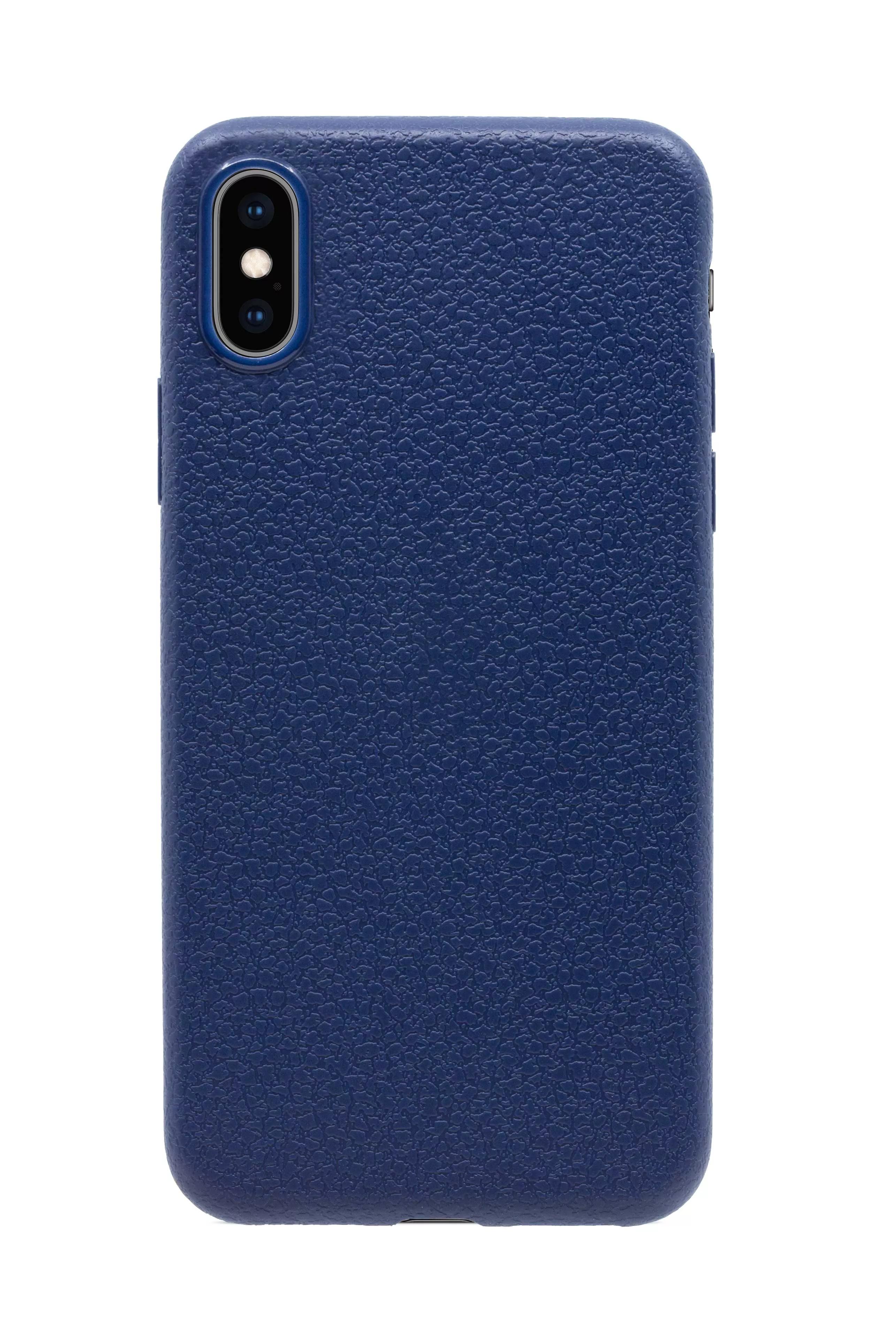 Чехол прорезиненный с тиснением под кожу для iPhone X/XS - Темно-синий