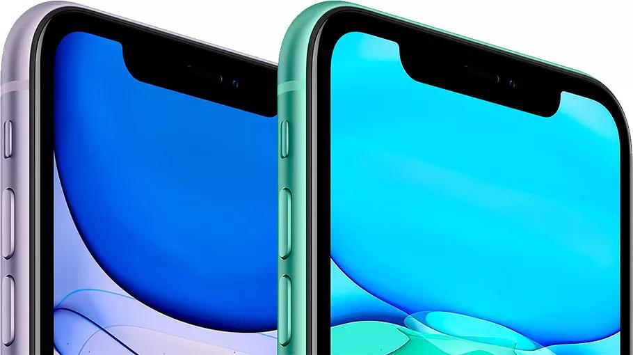 iPhone 11 в фиолетовом и зеленом цвете