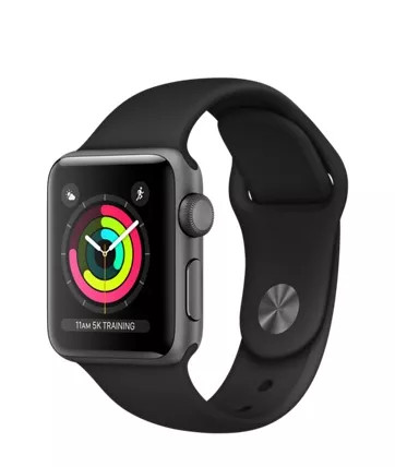 Apple Watch Sport Series 3 38mm, алюминий «серый космос», спортивный ремешок чёрного цвета