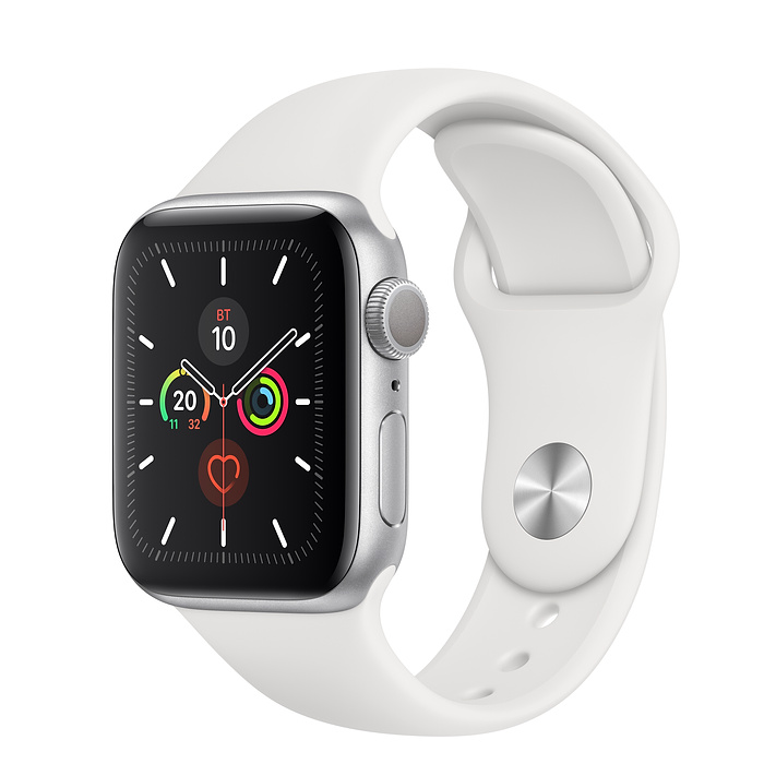 Apple Watch Series 5 40mm, серебристый алюминий, спортивный ремешок белого цвета